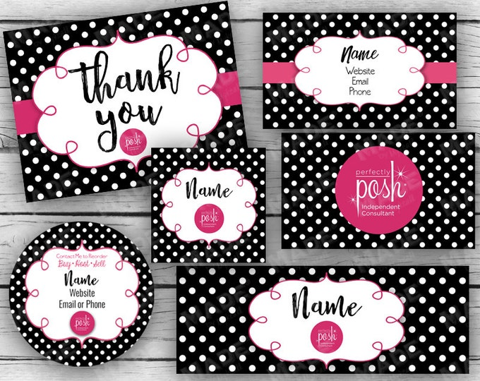 "ULTIMATE BUSINESS STARTER Set - Black & White Dot, Business Card, Thank You Card, 3"" Branded Labels, Facebook Banner, Profile Pic, Marketing"