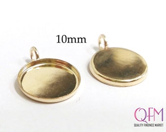 10 pcs 10mm Round Bezel cups with one vertical loop Gold Filled (deep 1mm)