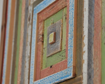 rectangular reclaimed timber wall art