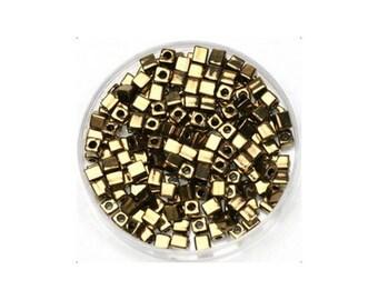 15 grams of beads Miyuki Cubes 3 mm Bronze dark metal