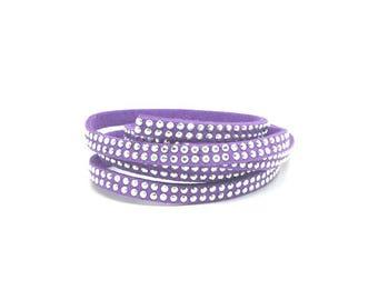 3 m to silver rhinestones 5mm dark purple suede