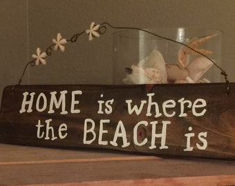 Wood beach signs Home is where the beach is Coastal wall decor Beach theme wall decor Beach themed gifts Wooden beach signs