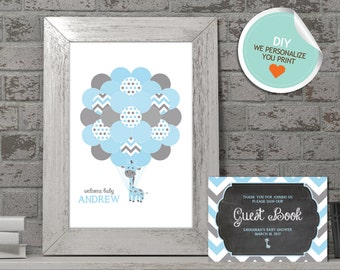 Giraffe Baby Shower Guest Book, Giraffe Guest Book, Blue, Gray (Matches Chalkboard, All Chevron) | DIY