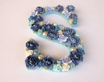 On Sale - Custom name letter - Floral name letter - Blue flower letter - Wooden letter S - Birthday gift - Nursery decor - Office decor