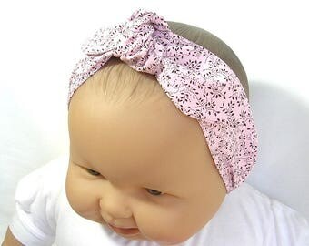 Pink and brown baby headband, with elastic at the back, choose your size