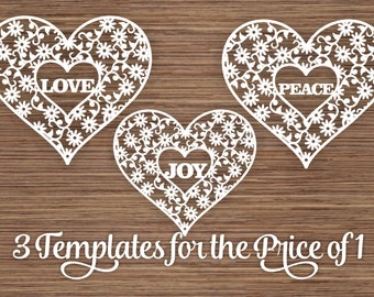 Love Peace Joy (3 Templates) in flowers and Heart PDF SVG (Commercial Use) Instant Download Digital Papercut Template