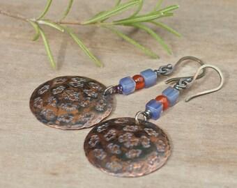 Copper earrings, Copper jewelry, Natural stone earrings, Boho bohemian earrings, Fish earrings, Sterling silver ear wire, Handmade earrings