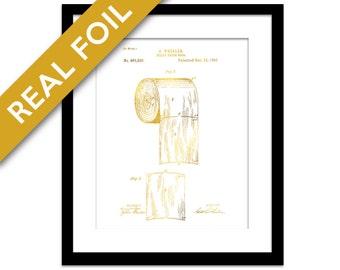 Toilet Paper Roll Patent Illustration Gold Foil Print - Toilet Paper Poster - Bathroom Art - Toilet Roll Art Print - Vintage Bathroom Decor