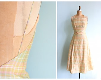 Vintage 1980s Pastel Plaid Dress | Size Small