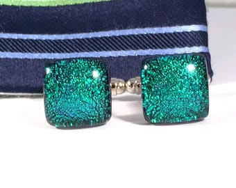 Square Bright Green Dichroic Glass Cufflinks, Gift for Him, Husband Gift, Fathers Day