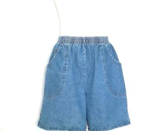 1980's Chic Jean Shorts Vintage 80's High Waist Denim Shorts Elastic Waist Shorts Size 12 Average Shorts 1980's High Waist Cotton Shorts