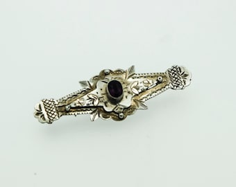 A Silver Vintage Brooch Set With  an Amethyst   SKU805