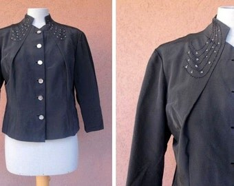 1940's Black Beaded Blouse - 40's Rayon Embroidered Bloue - Size M