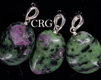 Tumbled Ruby Zoisite Pendant w/ Sterling Bail 15-22mm (TU135)