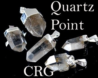 """Silver Plated Quartz Crystal Point Pendant Small 3/4-1"""" PT101sm (special)"""