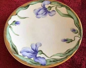 JEAN POUYAT LIMOGES  J.P.L. France, antique  Hand Painted and signed by Artist, Blue Iris Floral Design Decorative Plate
