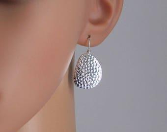 Hammered Silver Freeform Earrings