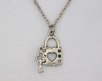 Silver Lock & Key to My Heart Earrings Pendant Necklace Set