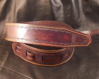 FREE SHIPPING! Hand tooled leather guitar strap for acoustic or electric guitar.