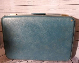 Blue Suitcase, Carry Case, 20th Century Suitcase, Travel Case, Blue Luggage