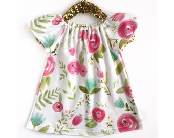 Spring Floral Dress, Floral Toddler Dress, Floral Baby Dress, Mint and Pink Baby Dress, Baby Outfit, Girls Dress, Memorial Day