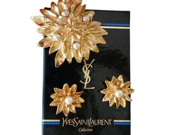 YSL - Yves Saint Laurent - set brooch and earrings vintage