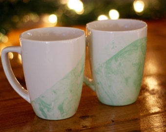Set of Four Mint Green Marbled Mugs