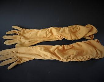 Long Gold Gloves by Shalimar Size 7 Formal Evening 60s Gloves