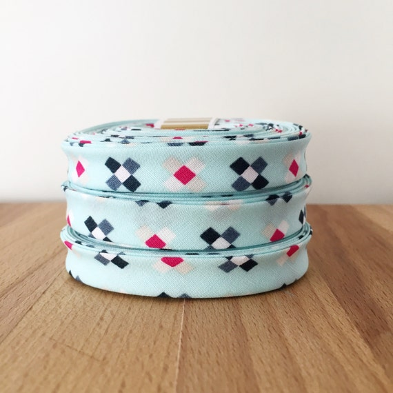 "Bias Tape- Crosses Galazio 1/2"" double-fold cotton binding- SKOPELOS by Katarina Roccella - Art Gallery Fabrics- 3 yard roll"