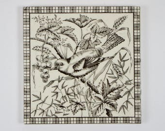 Antique 1890s English Victorian bird & berries pottery tile