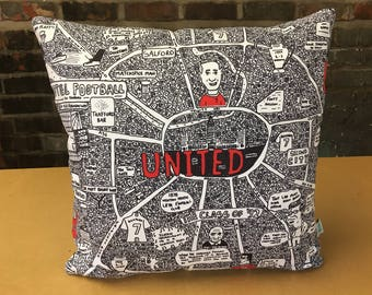 Manchester United Doodle Map Cushion