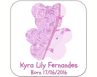 Personalised New Baby Girl Map Coasters