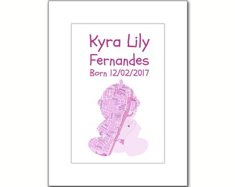 Personalised New Baby Girl Map Prints