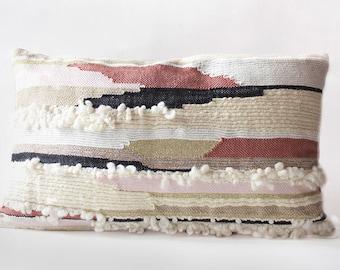 Hand woven cushion, Metis natural fibers and velvet rose