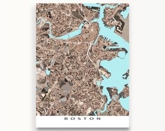 Boston Map Print, Boston Massachusetts, City Art Maps