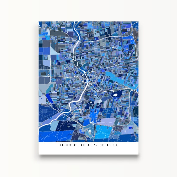 Rochester ny map art prints new york state