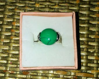 Size Five and a Half Sterling Silver Ring With Green Color Stone