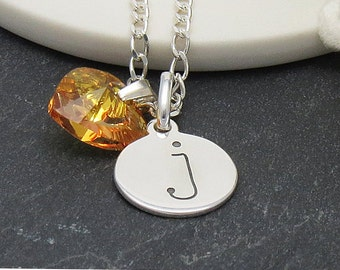 Sterling Silver Personalised Initial Necklace, Personalized Birthstone Initial Necklace, November Birthstone Necklace, Initial Jewelry