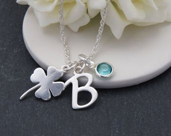 Sterling Silver Lucky Clover Charm Initial and Birthstone Necklace, Personalized Silver Charm Necklace, Charm Jewelry