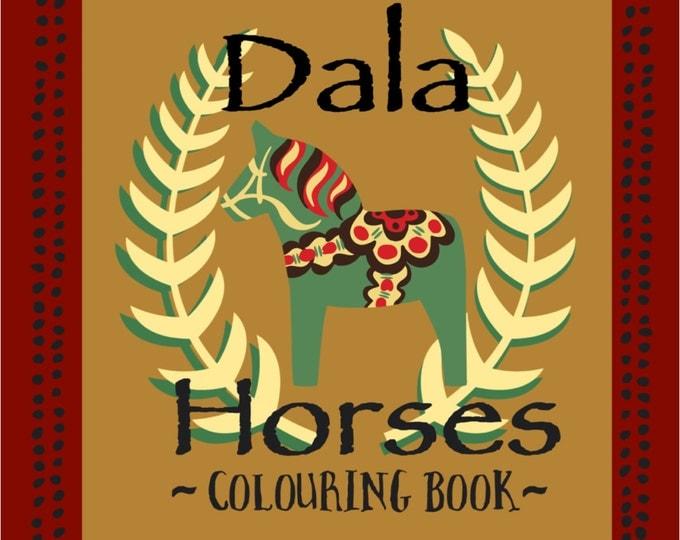 Dala Colouring Book,Wooden Horse, Dalarna,Swedish Dala Horse, Dala, Sweden,Coloring Book, Coloring, TheSwedishFlicka, Colored Pencils