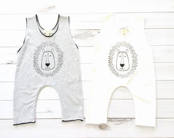 Free Shipping - Organic baby romper, organic shower gift, lion romper, newborn baby clothes, toddler-clothes,  Baby onepiece, baby bodysuits