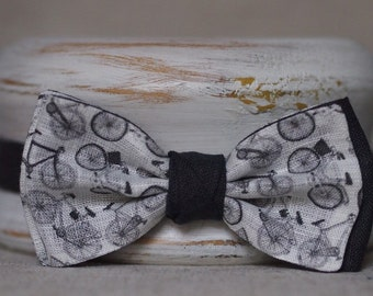 "Linen bow tie ""Bicycles"""
