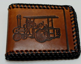 Vintage steam engine leather wallet-tooled leather wallet-steam tractor wallet-hit miss engine-antique tractor-old tractor