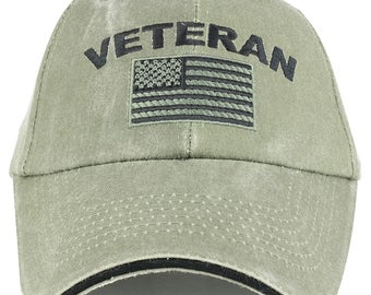 Cotton Pigment Washed American Flag and Veteran Emberoidered Baseball Cap (6397)