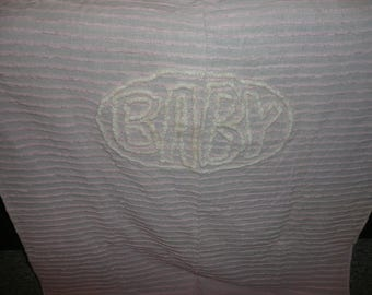Vintage Chenille Baby Pink Color Crib Blanket Reserved For Leslie Please