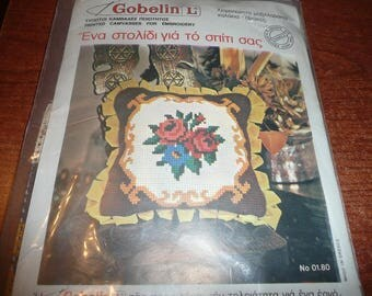 Gobelin L Printed Canvas Embroidery Kit Floral Pillow