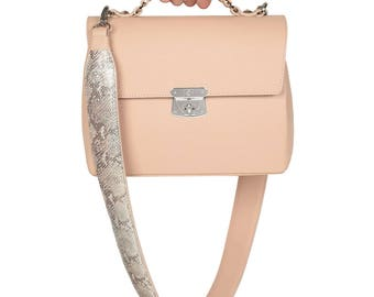 Leather Top Handle Bag, Beige Leather Handbag Top Handle, Women's Leather Bag KF-1059