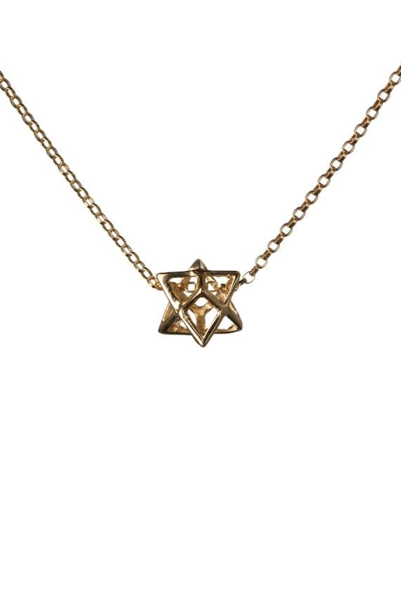 merkaba necklace gold filled pendant sacred geometry kabbalah