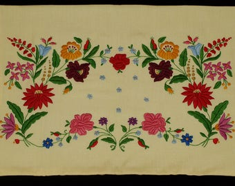 New Traditional Hand Embroidered Hungarian Kalocsa Floral Yellow Pillow case