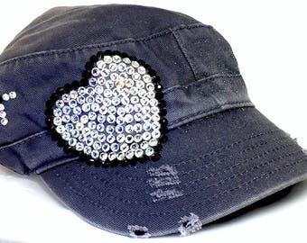 Bling Cadet Hats, Distressed Truckers, Bling Hats, Rhinestone Hats, Ladies Cadet Caps, Bling Ball Caps, Swarovski Hats, Women's Truckers